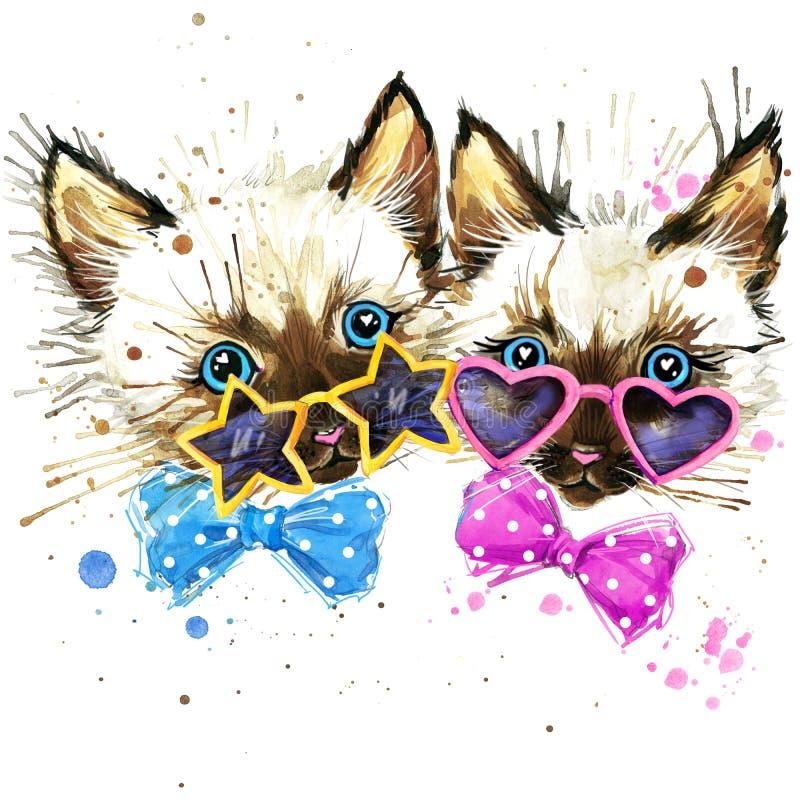 graphiques de T-shirt de jumeaux de chatons les chatons jumelle l'illustration avec le fond texturisé par aquarelle d'éclaboussur illustration de vecteur