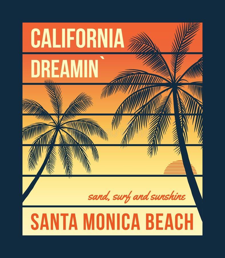 Graphiques de T-shirt de la Californie avec des paumes Conception de T-shirt, copie, typographie, label, insigne illustration stock