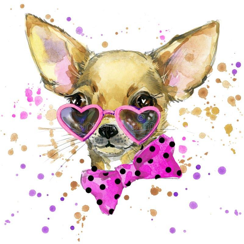 Graphiques de T-shirt de mode de chien Illustration de chien avec le fond texturisé d'aquarelle d'éclaboussure chiot peu commun d illustration libre de droits
