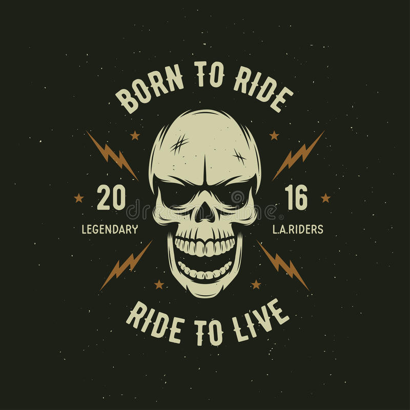 Graphiques de T-shirt de moto de vintage Soutenu pour monter Tour à vivre Illustration de vecteur illustration stock