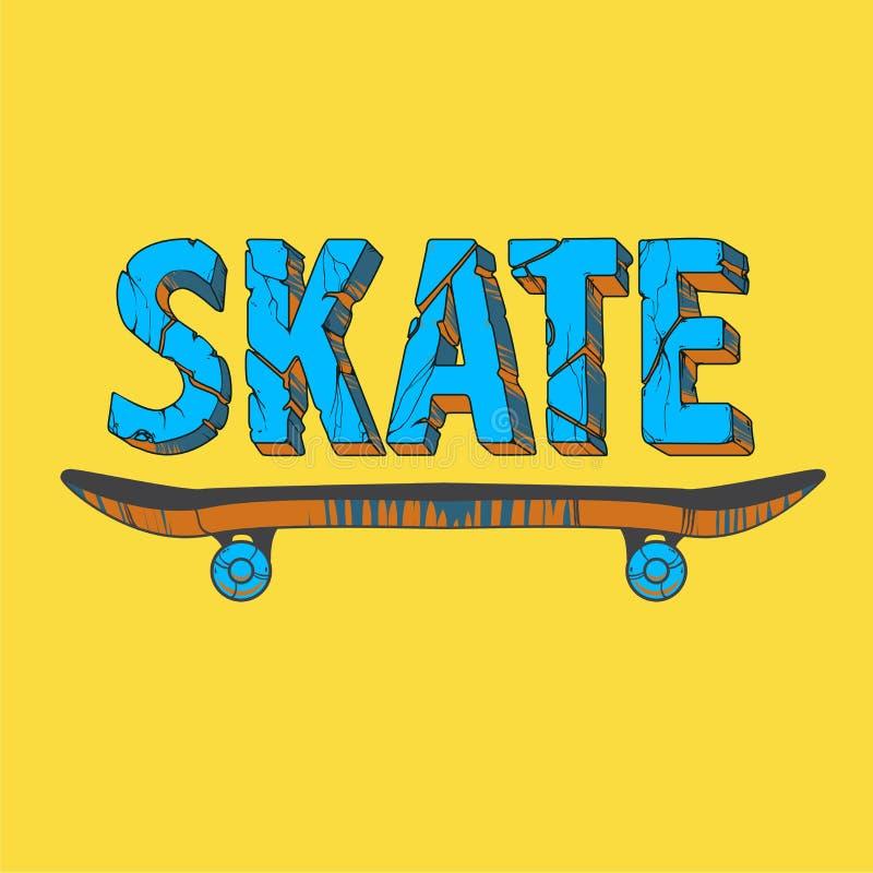 Graphiques de T-shirt de typographie de panneau de patin illustration stock