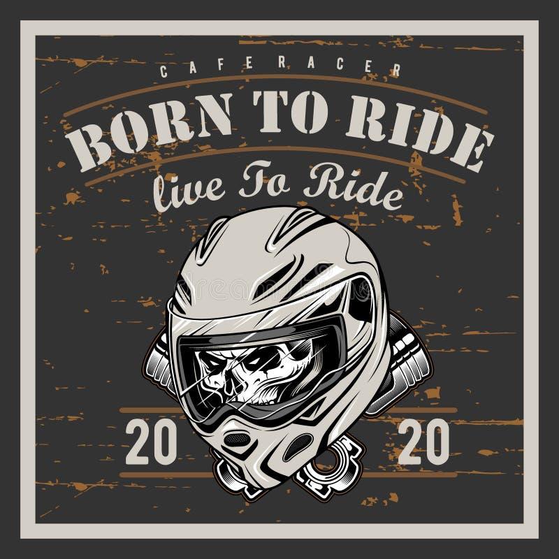 Graphiques de T-shirt de moto de vintage Soutenu pour monter Tour ? vivre T-shirt de cycliste Embl?me de moto Cr?ne monochrome Ve illustration stock