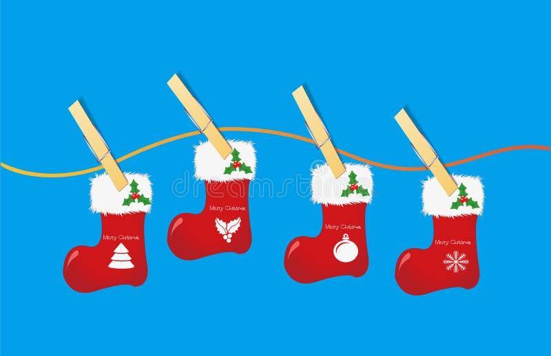 Graphiques de vecteur, chaussettes de Noël, agrafe en bois photos libres de droits