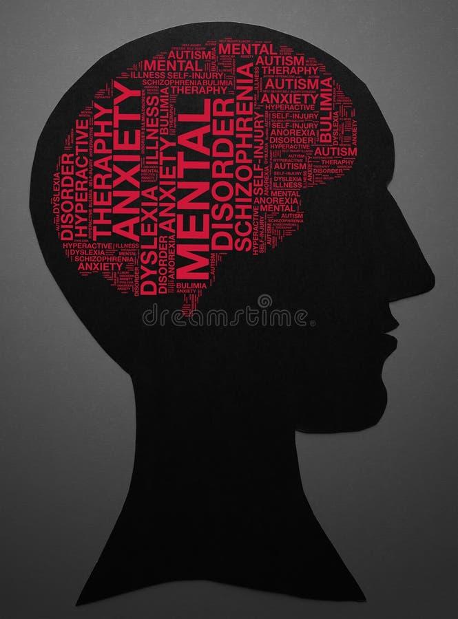 Graphiques des textes de maladie mentale et concept de disposition illustration libre de droits