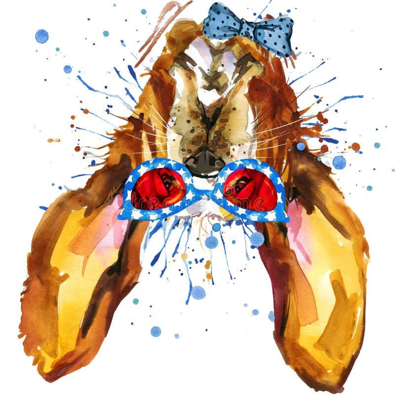 Graphiques drôles de T-shirt de chien Illustration de chien avec le fond texturisé d'aquarelle d'éclaboussure illustration libre de droits