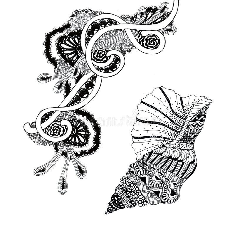 Graphiques en encre - Shell et élément abstrait dans le style marin illustration stock