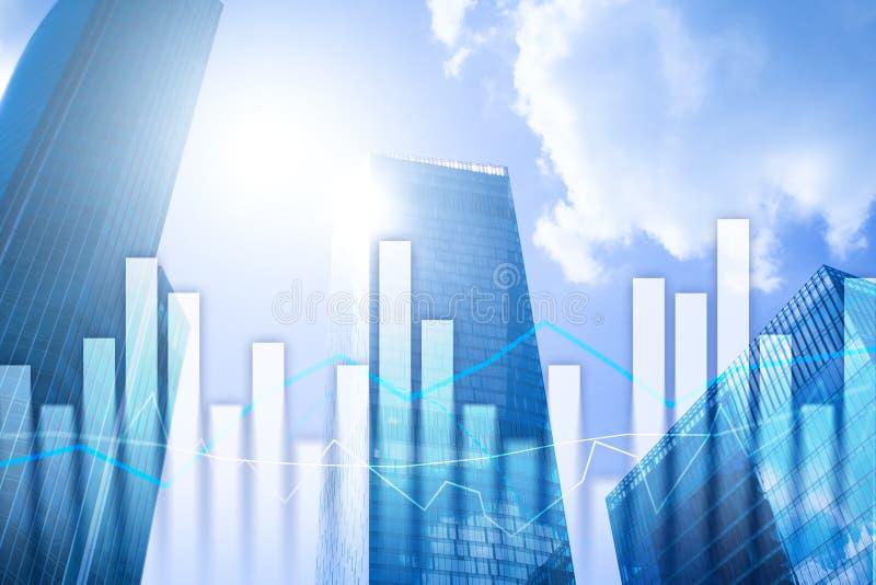 Graphiques et diagrammes financiers sur le fond brouillé de centre d'affaires Invesment et concept marchand images stock
