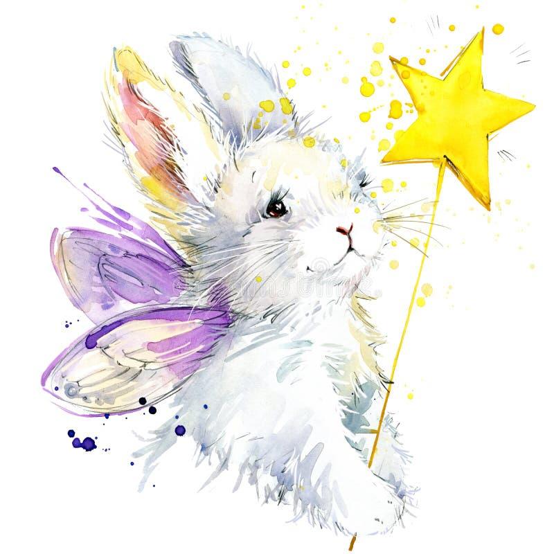 Graphiques féeriques de T-shirt de lapin l'illustration féerique de lapin avec l'aquarelle d'éclaboussure a donné au fond une con illustration stock