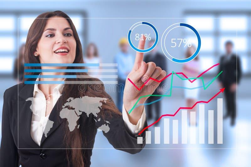 Graphiques financiers futuristes de croissance sur l'écran transparent images stock
