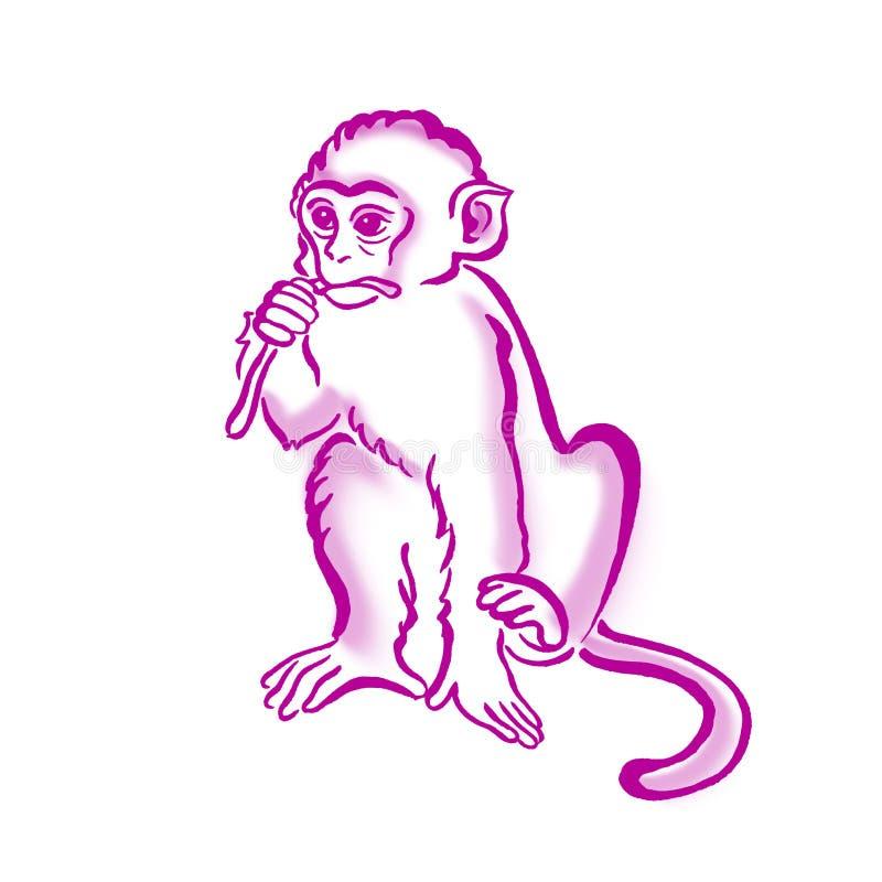 Graphiques frais de T-shirt de singe, illustration d'aquarelle de chimpanzé illustration stock