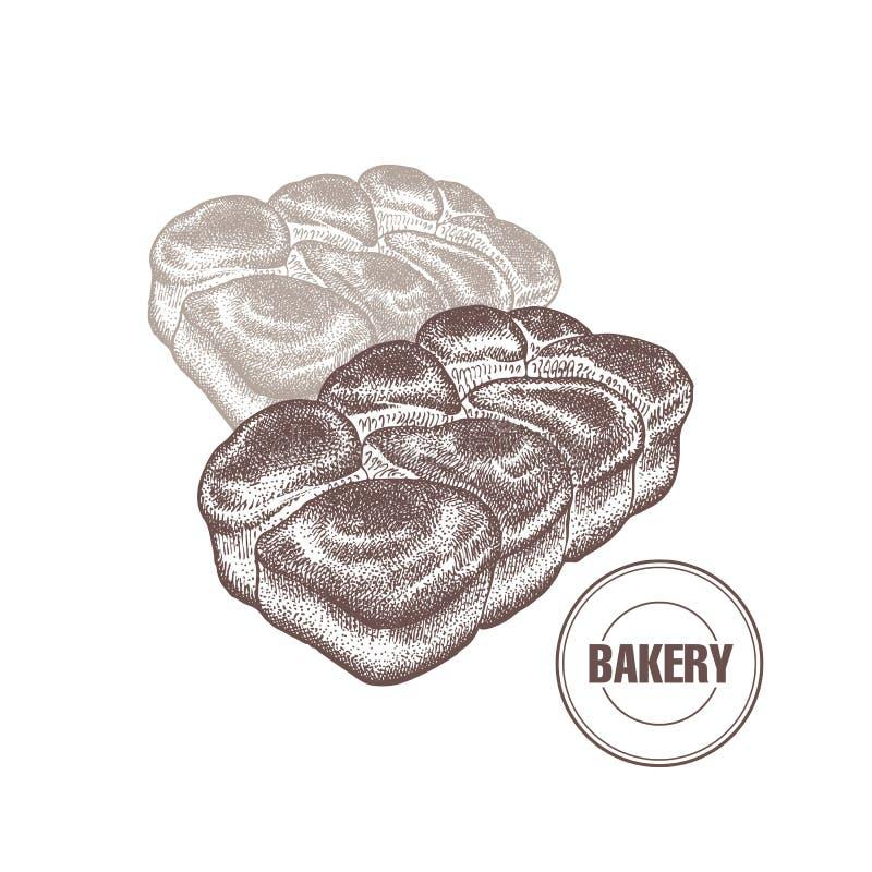 Graphiques français de cru de petits pains de brioche illustration de vecteur