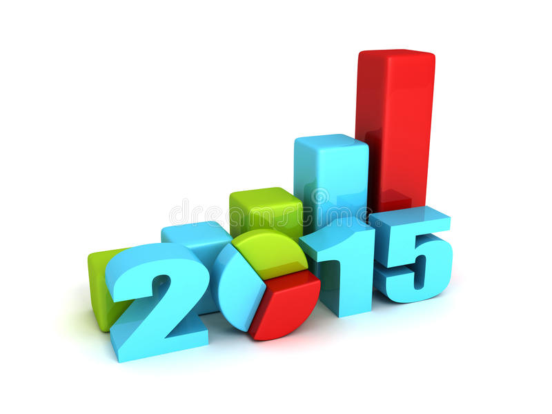 Graphiques réussis de barre et de tarte d'affaires 2015 ans illustration de vecteur