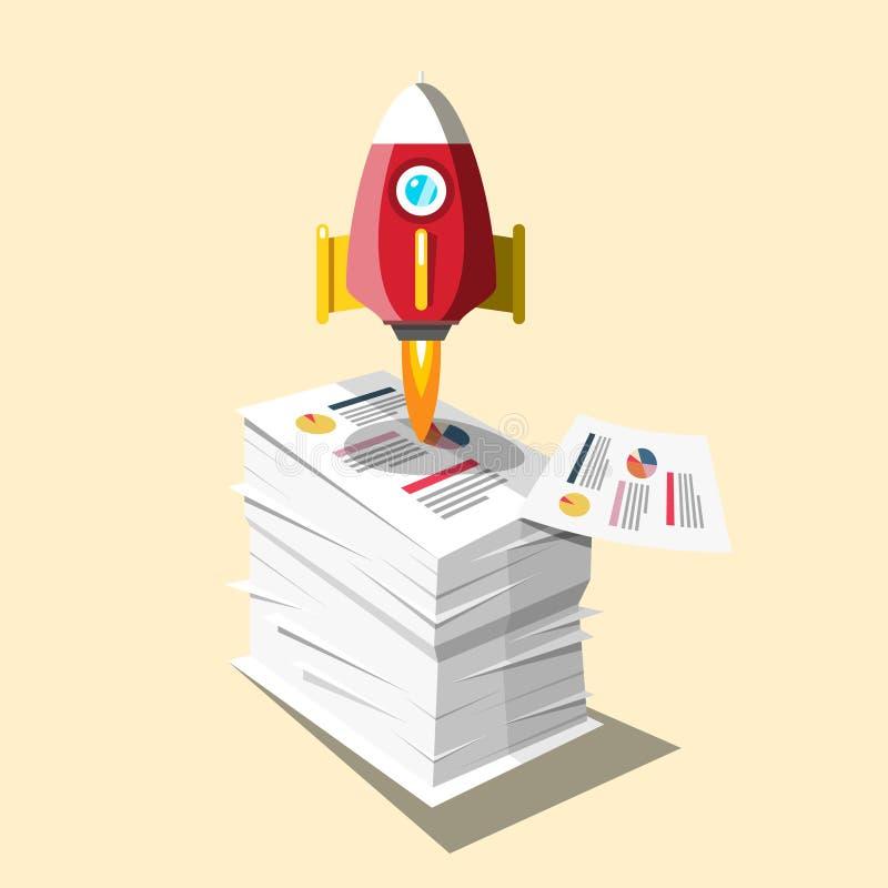 Graphiques sur les documents d'affaires Heap avec conception de lancement de fusée illustration de vecteur