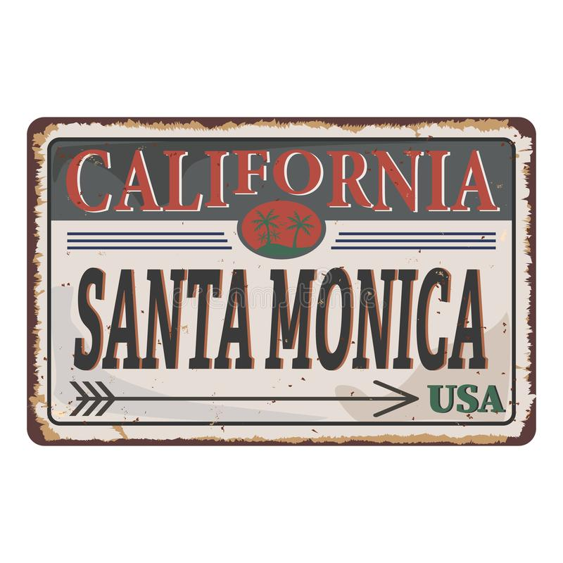 Graphiques sur les t-shirts de Los Angeles Santa Monica California Tee graphique vintage illustration libre de droits