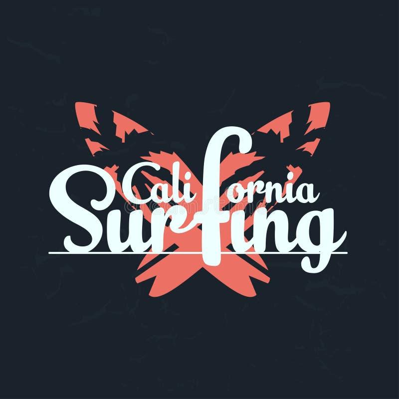 Graphiques surfants de typographie de la Californie avec la planche de surf Fond grunge Typographie, graphiques de T-shirt illustration de vecteur