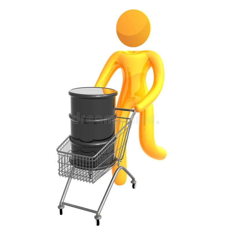 Graphisme 3d élastique poussant le tonneau à huile illustration stock