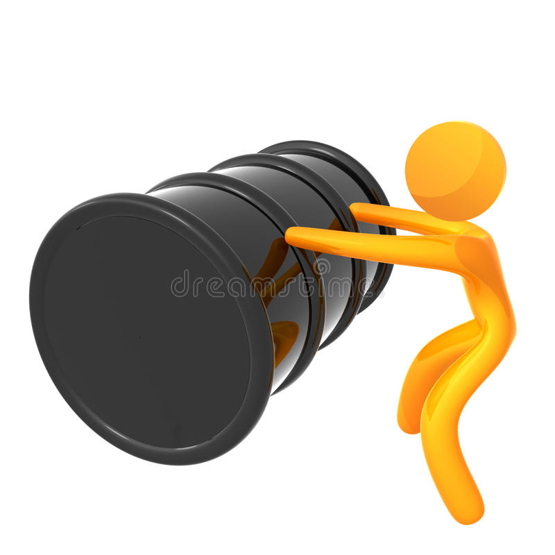 Graphisme 3d élastique poussant le tonneau à huile illustration libre de droits