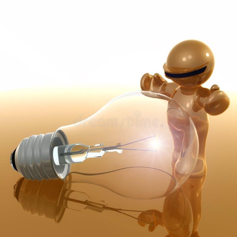 graphisme 3d avec l'ampoule d'idée illustration stock