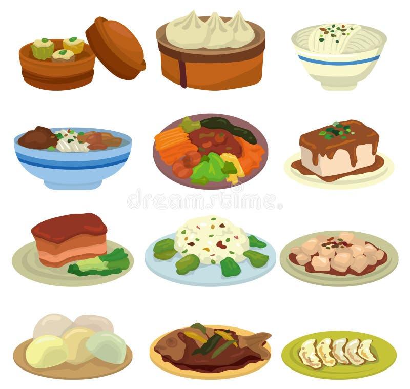 Graphisme chinois de nourriture de dessin animé illustration libre de droits
