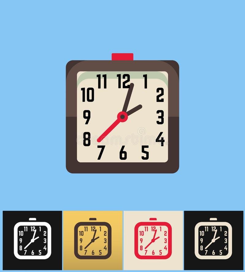 Graphisme d'horloge Illustration plate de vecteur sur les milieux colorés Horloge analogue carrée de Brown illustration de vecteur