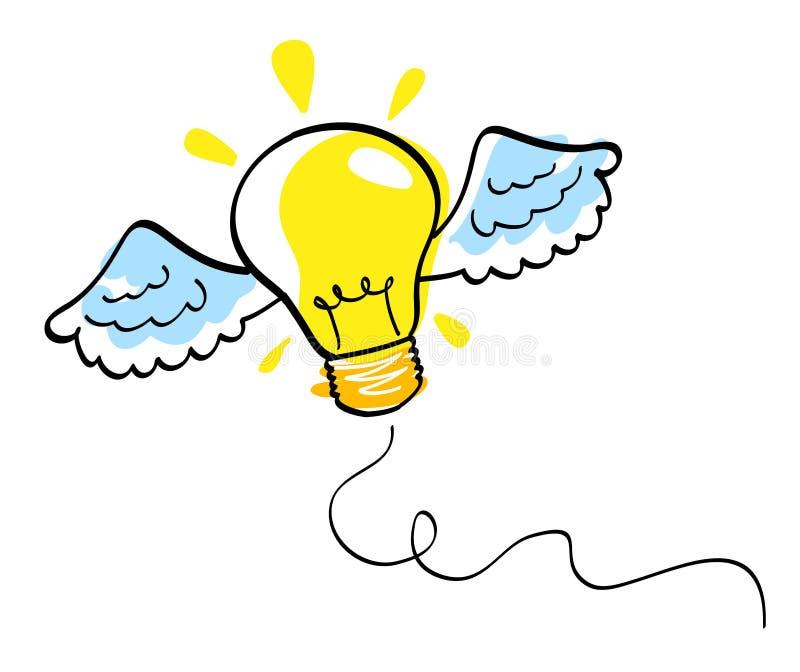 Graphisme d'idée avec l'ampoule vectorielle d'ailes illustration libre de droits
