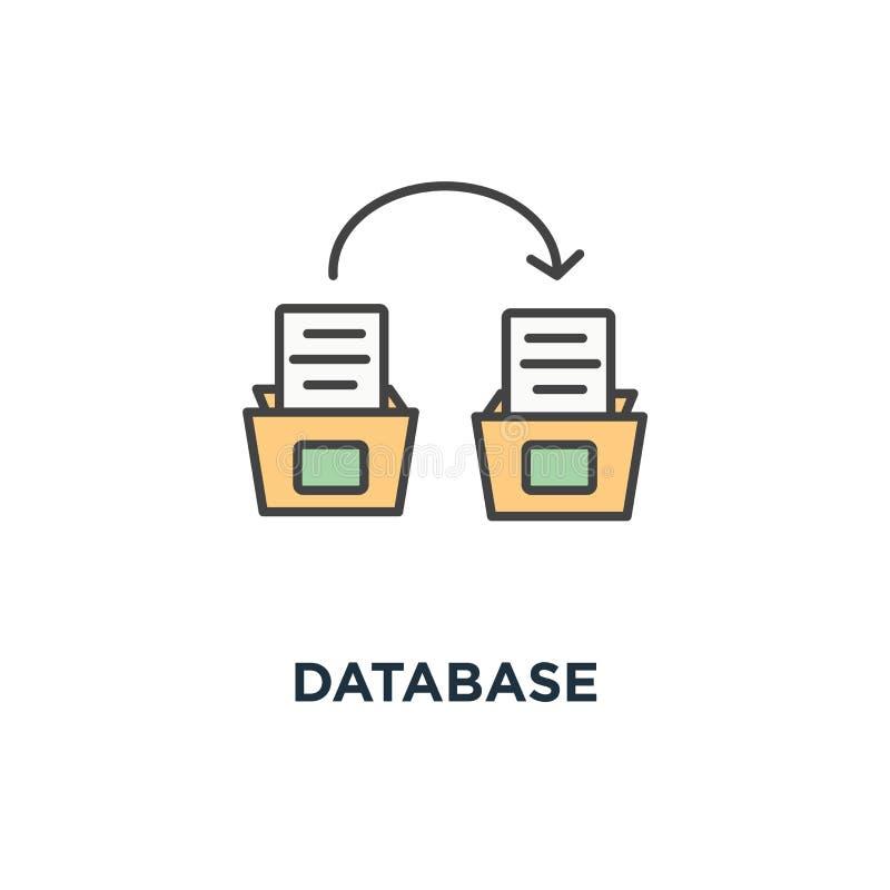 Graphisme de base de données boîte de banquiers du dépôt avec des documents, conception de symbole de concept de systématisation, illustration stock