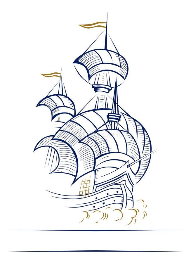 Graphisme de bateau à voile illustration de vecteur