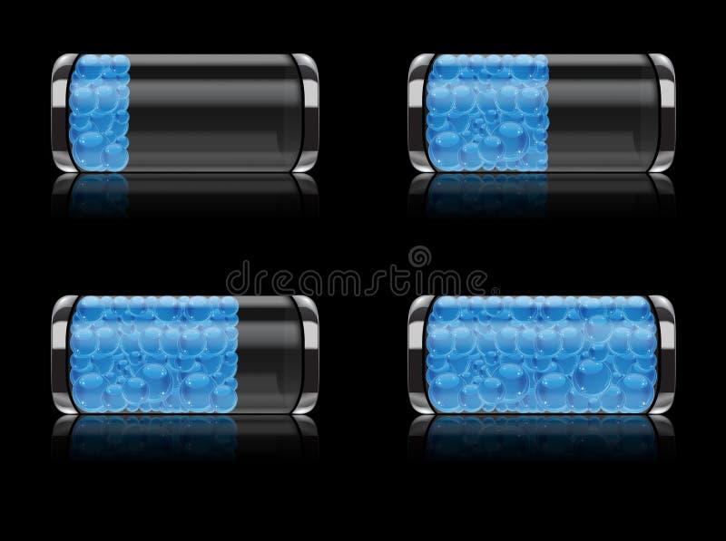 Graphisme de batterie réglé avec le format de bulles illustration libre de droits