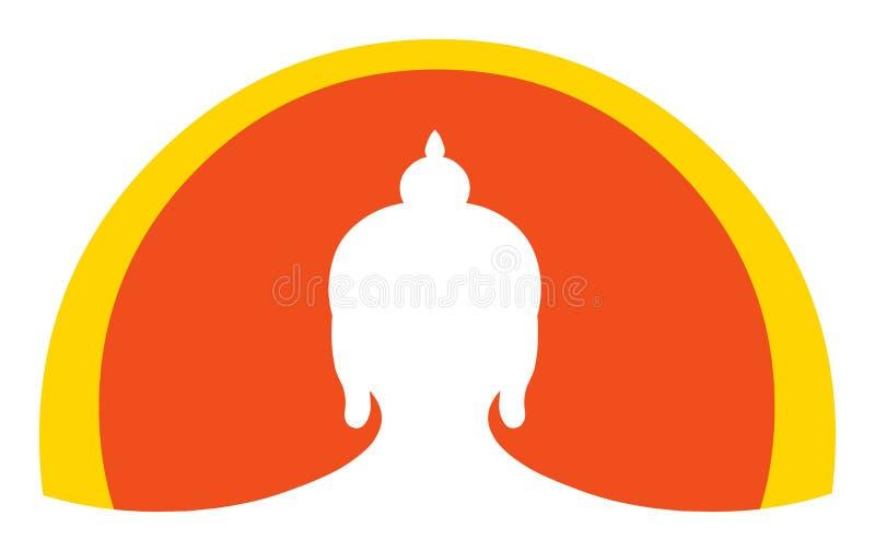 Graphisme de Bouddha et élément principaux de logo illustration stock