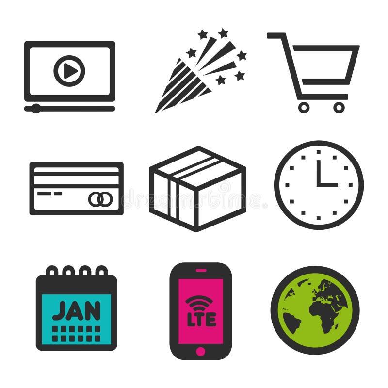 Graphisme de caddie Symbole visuel de jeu Icône de partie Signe de carte de crédit Icônes d'horloge et de calendrier illustration libre de droits