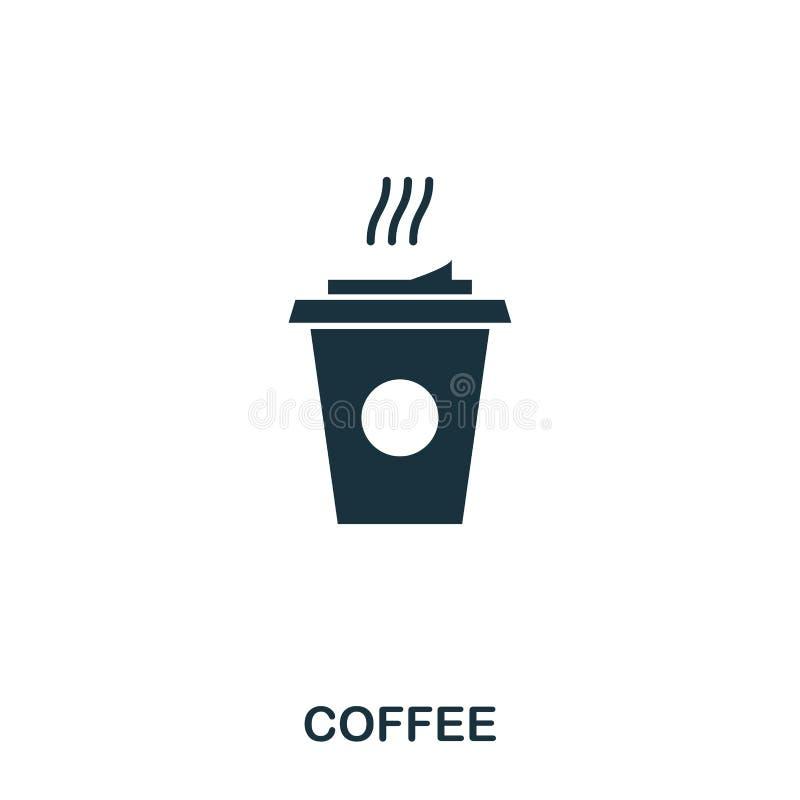 Graphisme de café Apps mobiles, impression et plus d'utilisation L'élément simple chantent Illustration monochrome d'icône de caf illustration libre de droits