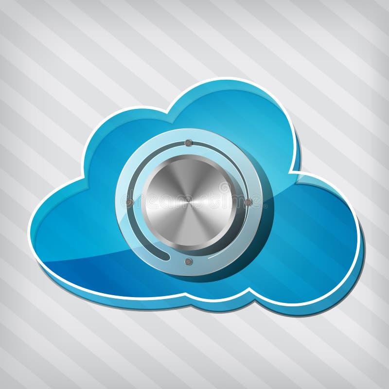 Graphisme de calcul de nuage bleu avec la molette illustration stock