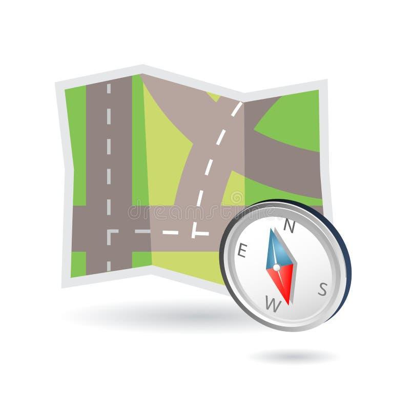 Graphisme de carte et de compas illustration de vecteur