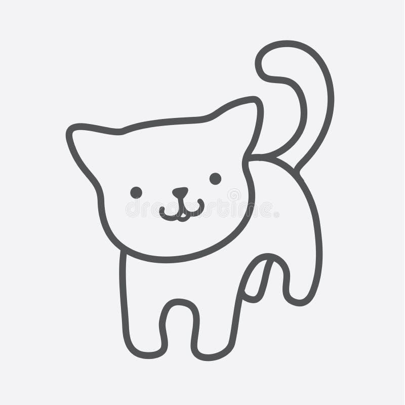 Graphisme de chat Le charme mignon de minou dans les lignes simples a isolé la photo du chaton de sourire tirée par la main avec  illustration stock