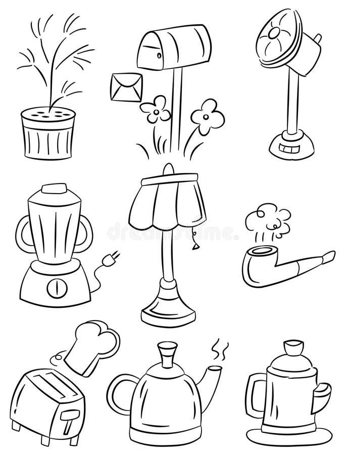 Graphisme de dessin animé d'appareils ménagers d'attraction de main illustration libre de droits