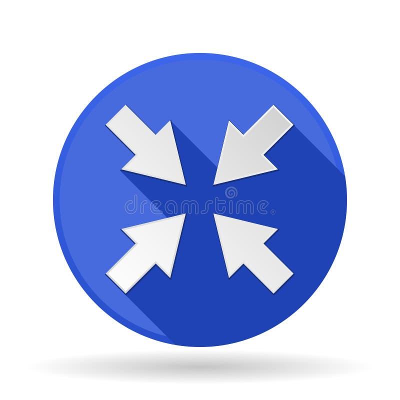 Graphisme de flèches Signe rond bleu avec l'ombre Symbole central illustration de vecteur