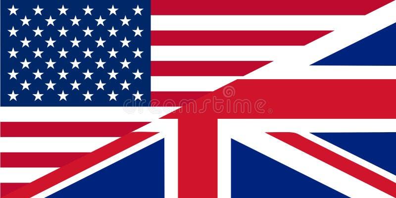 Graphisme de l'anglais américain et britannique illustration de vecteur