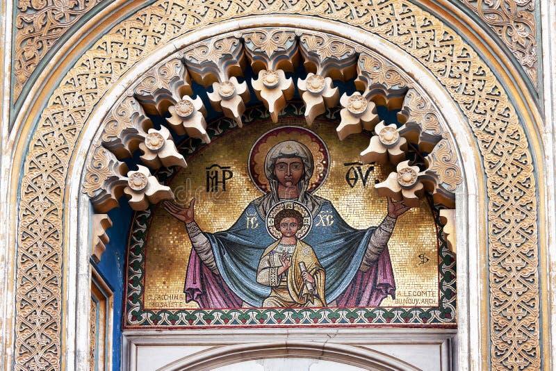 Graphisme de la mosaïque - Maria avec Jésus photographie stock libre de droits