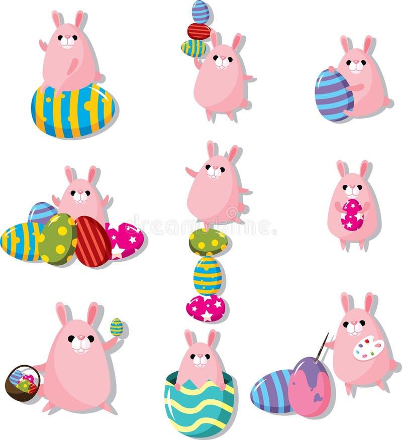 Graphisme de lapin et d'oeufs de Pâques de dessin animé illustration de vecteur