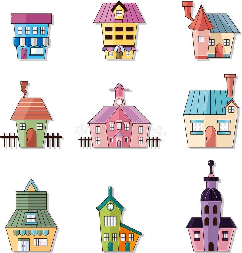 Graphisme de maison de dessin animé illustration stock