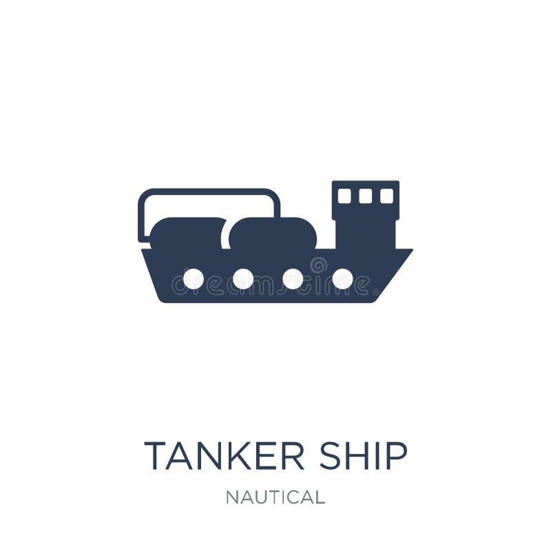 Graphisme de pétrolier Icône plate à la mode de pétrolier de vecteur sur b blanc illustration libre de droits