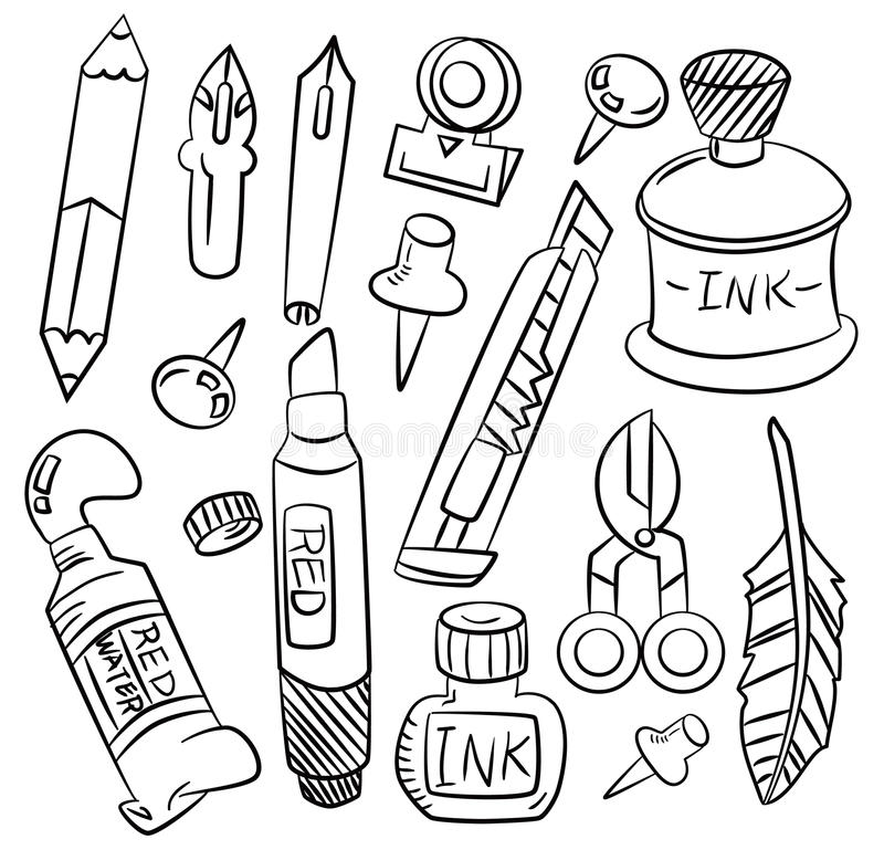 Graphisme de papeterie de dessin animé d'attraction de main illustration de vecteur