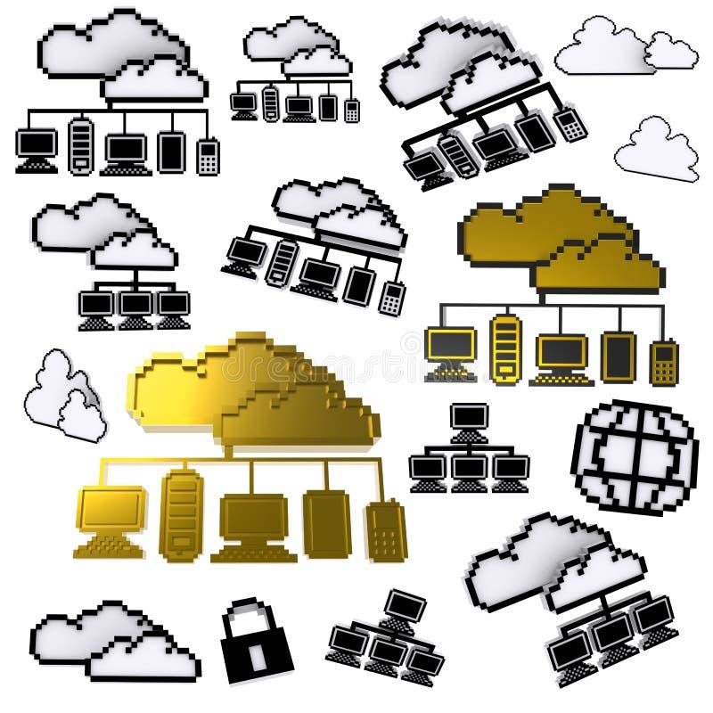 Graphisme de Pixel de réseau de nuage illustration stock