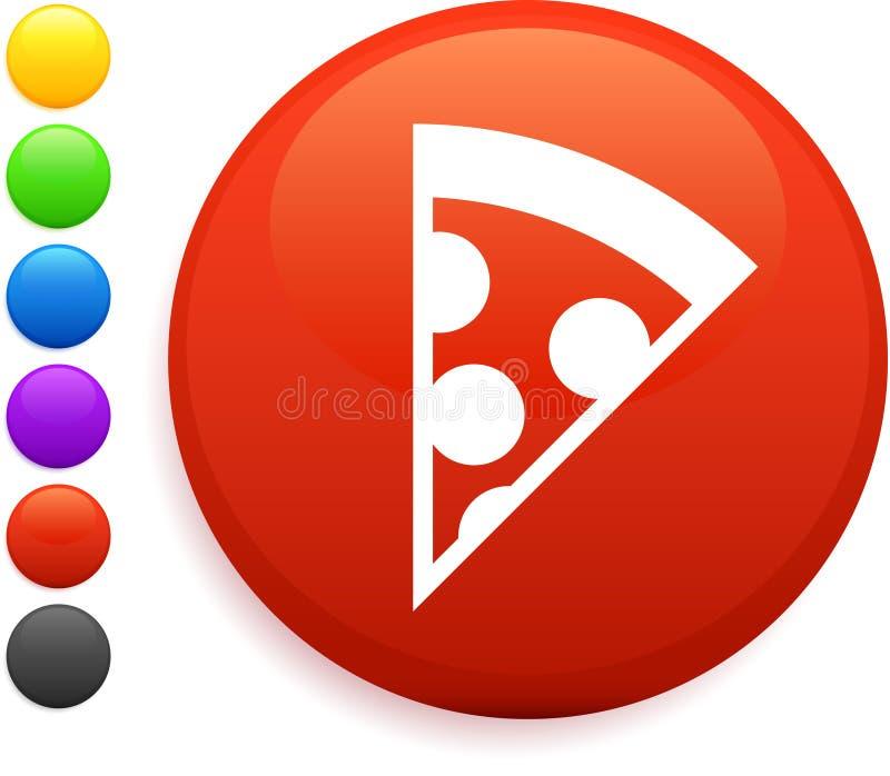 Graphisme de pizza sur le bouton rond d'Internet illustration libre de droits