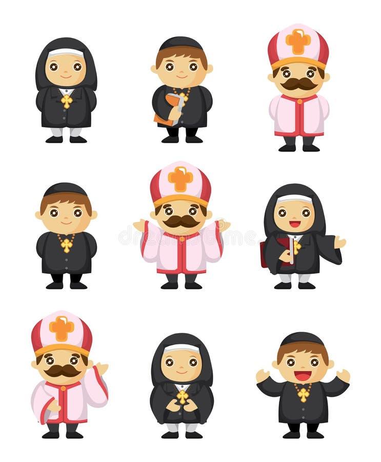 Graphisme de prêtre de dessin animé illustration stock