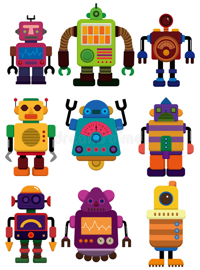 Graphisme de robot de couleur de dessin animé illustration libre de droits