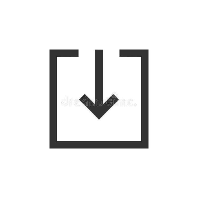 Graphisme de téléchargement Téléchargement, signe de charge, symbole Illustration de vecteur Conception plate illustration stock