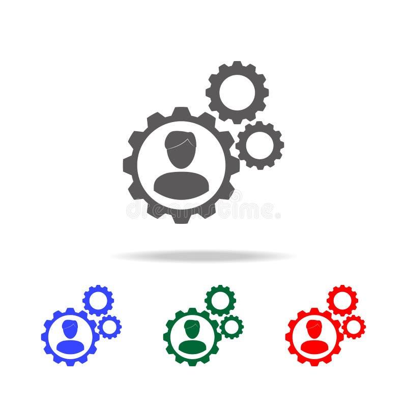 Graphisme de travail d'équipe Éléments de ressource humaine dans les icônes colorées multi Affaires, signe de ressource humaine R illustration stock