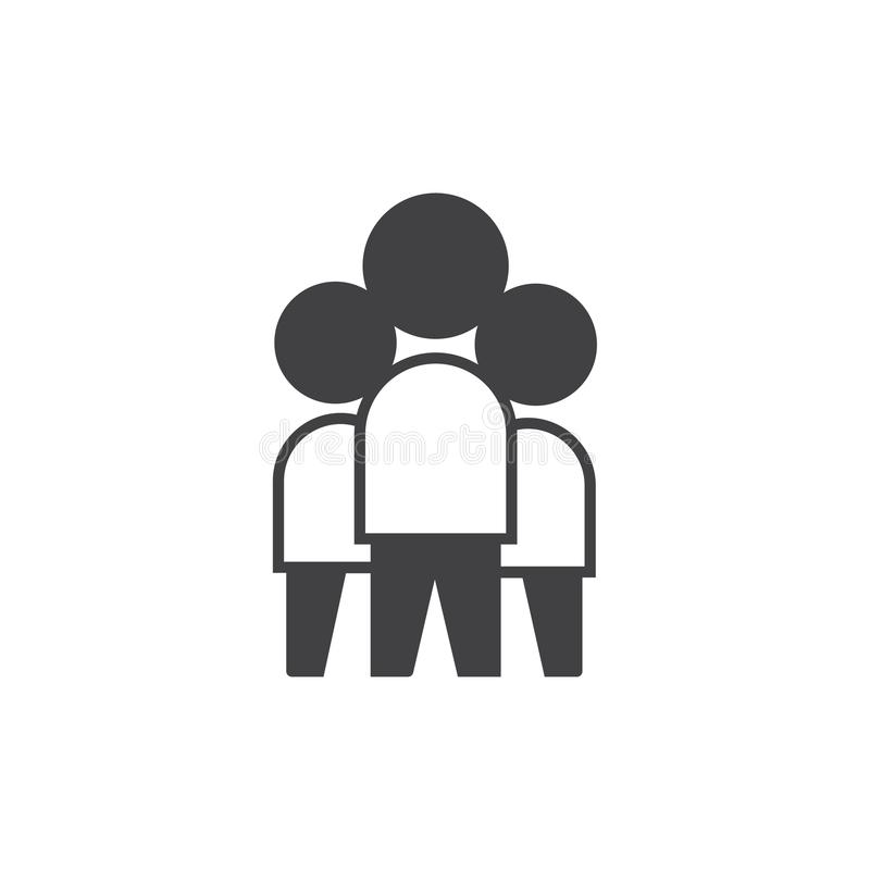 Graphisme de travail d'?quipe symbole de signe de vecteur complètement editable avec pour trois personnes illustration de vecteur