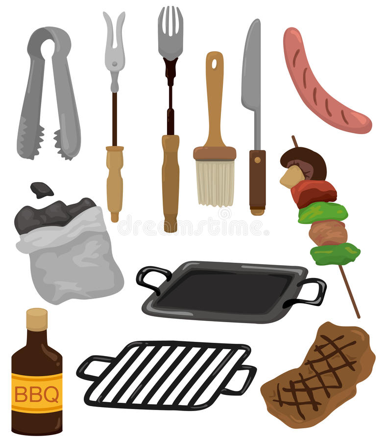 Graphisme de trousse d'outils de réception de barbecue de dessin animé illustration de vecteur